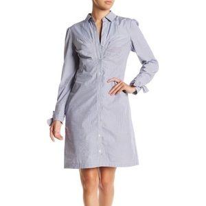 ECI Blue & White Striped Long Sleeve Shirt Dress